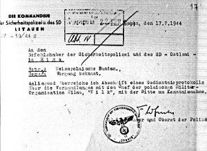 1944 m. vasario 17 d. vokiečių pranešimas apie įvykusias derybas su Wilku | RVKA, f. 504, ap. 1, b. 14, l. 17 nuotr.