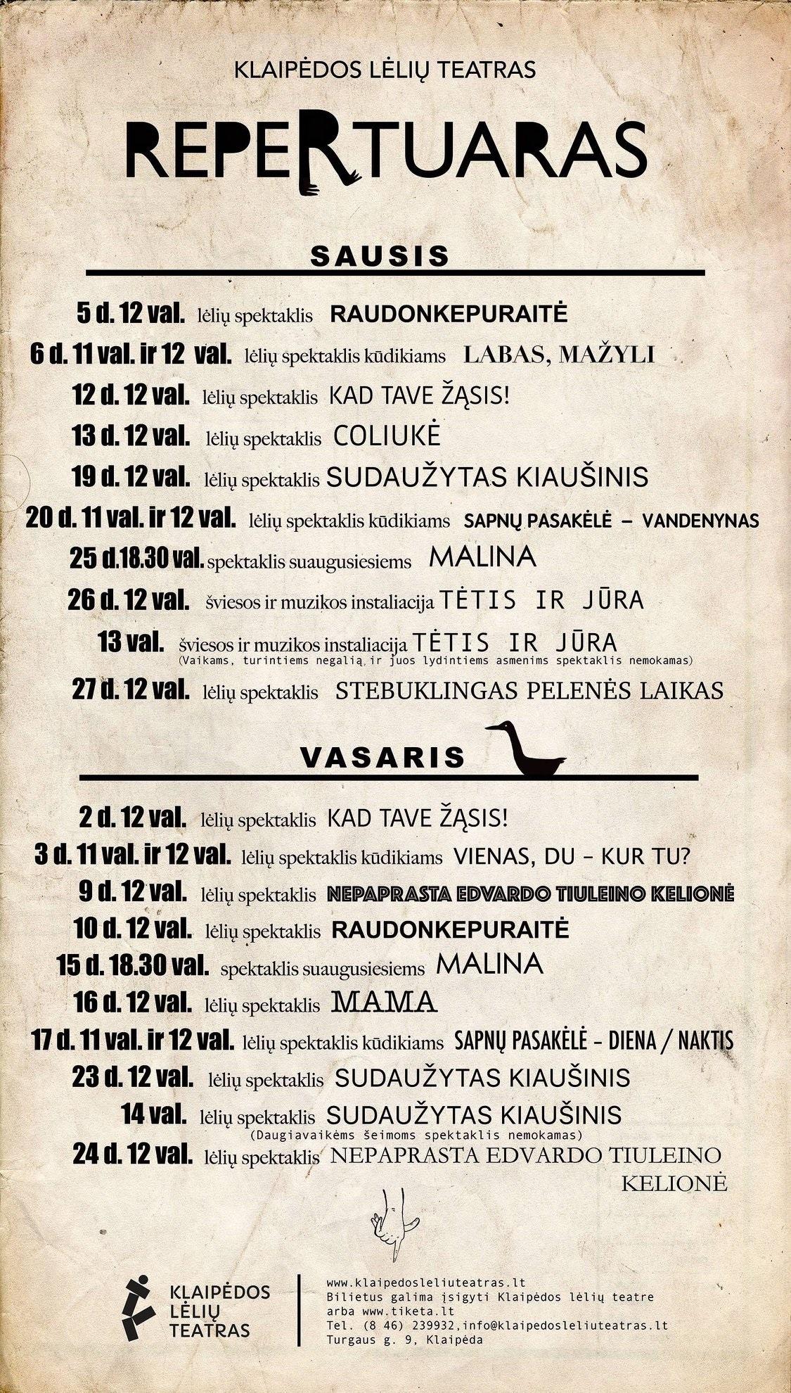 Klaipėdos lėlių teatro repertuaras, sausis-vasaris   Klaipėdos lėlių teatro nuotr.