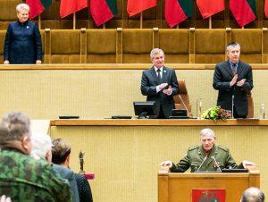 Jonas Kadžionis-Bėda kalba Seime po Laisvės premijos įteikimo | lrs.lt nuotr.