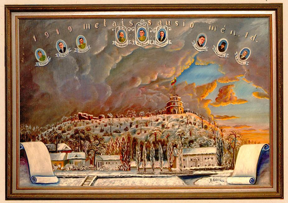 Pasvalio krašto muziejuje saugomas istorinių įvykių dalyvio Jono Nistelio užsakymu plačiau nežinomo dailininko B. Kebliko nutapytas paveikslas 1919 m. sausio 1 d. įvykiams atminti (XX a. 3 dešimt.?).