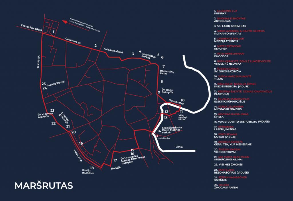 Vilniaus šviesų šventės žemėlapis | Vilnius.lt nuotr.