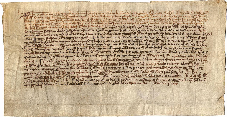 Lietuvos didžiojo kunigaikščio Gedimino 1323 m. sausio 25 d. laiškas, kuriame paminėtas Vilnius. Latvijos valstybinis istorijos archyvo nuotr.