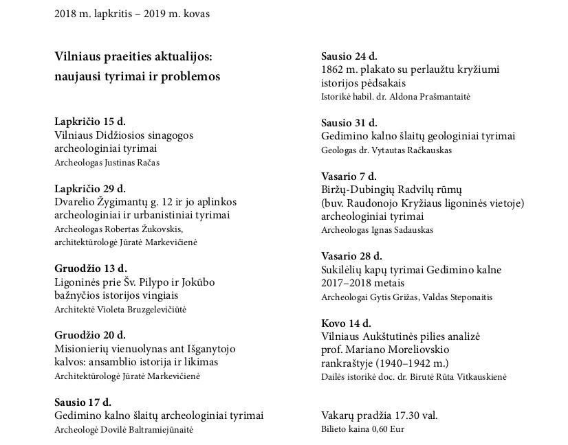 KKV 2018-2019 programa | Lietuvos nacionalinio muziejaus nuotr.