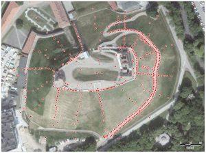 Gedimino pilies kalno teritorijoje išgręžtų tyrimo gręžinių, kurių duomenys dokumentaliai išlikę, išsidėstymas | V. Račkausko schema