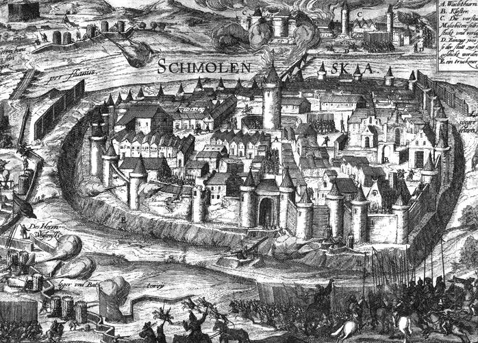 Smolensko apgultis 1609-1611 m. Medžio raižinys | wikipedia.org nuotr.