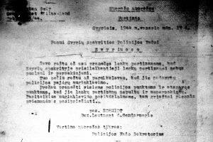 1944 m. vasario 19 d. Svyrių vokiečių žandarmerijos vado ltn. Šmidto (Schmidt) įsakymo, draudžiančio atakuoti akovcus, vertimas | LCVA, f. 1399, ap. 1, b. 100, l. 4 nuotr.