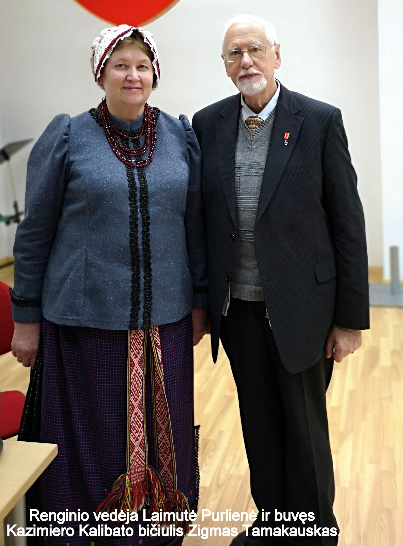 Renginio vedėja Laimutė Purlienė ir buvęs Kazimiero Kalibato bičiulis Zigmas Tamakauskas   A. Grigaitienės nuotr.
