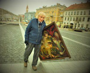 Albinas Kentra su Kentrų šeimos partizanais Pr. Gerliko paveiksle | V. Jocio nuotr.