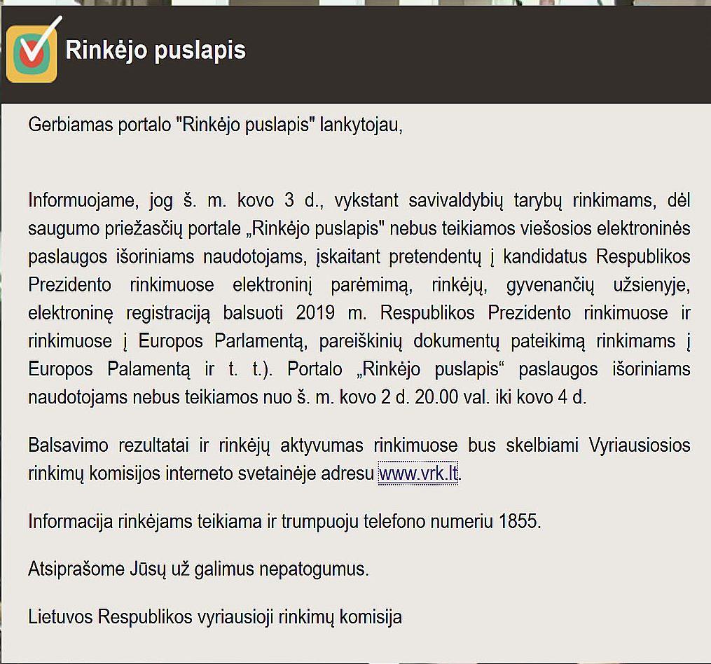 Užblokuotas rinkimų portalas www.rinkejopuslapis.lt | Alkas.lt nuotr.