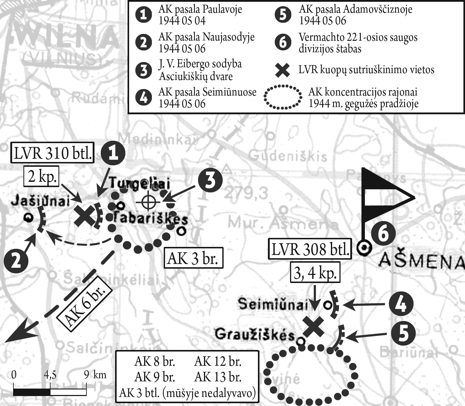 """Į AK pasalas patekusios LVR kuopos žemėlapis   """"Voruta"""" nuotr."""