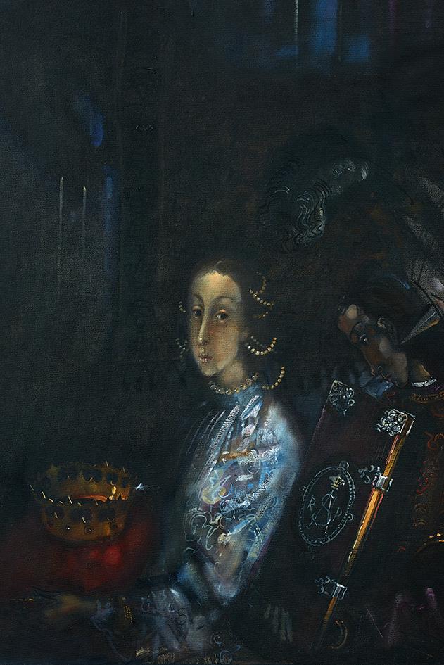 """G. Kazimierėno paveikslo """"Barboros Radvilaitės laidotuvės"""" fragmentas"""