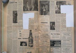 Glavlito cenzorių iškarpytas išeivijos lietuvių laikraštis DIRVA, Cleveland 1959 | LMA Vrublevskių bibliotekos nuotr.