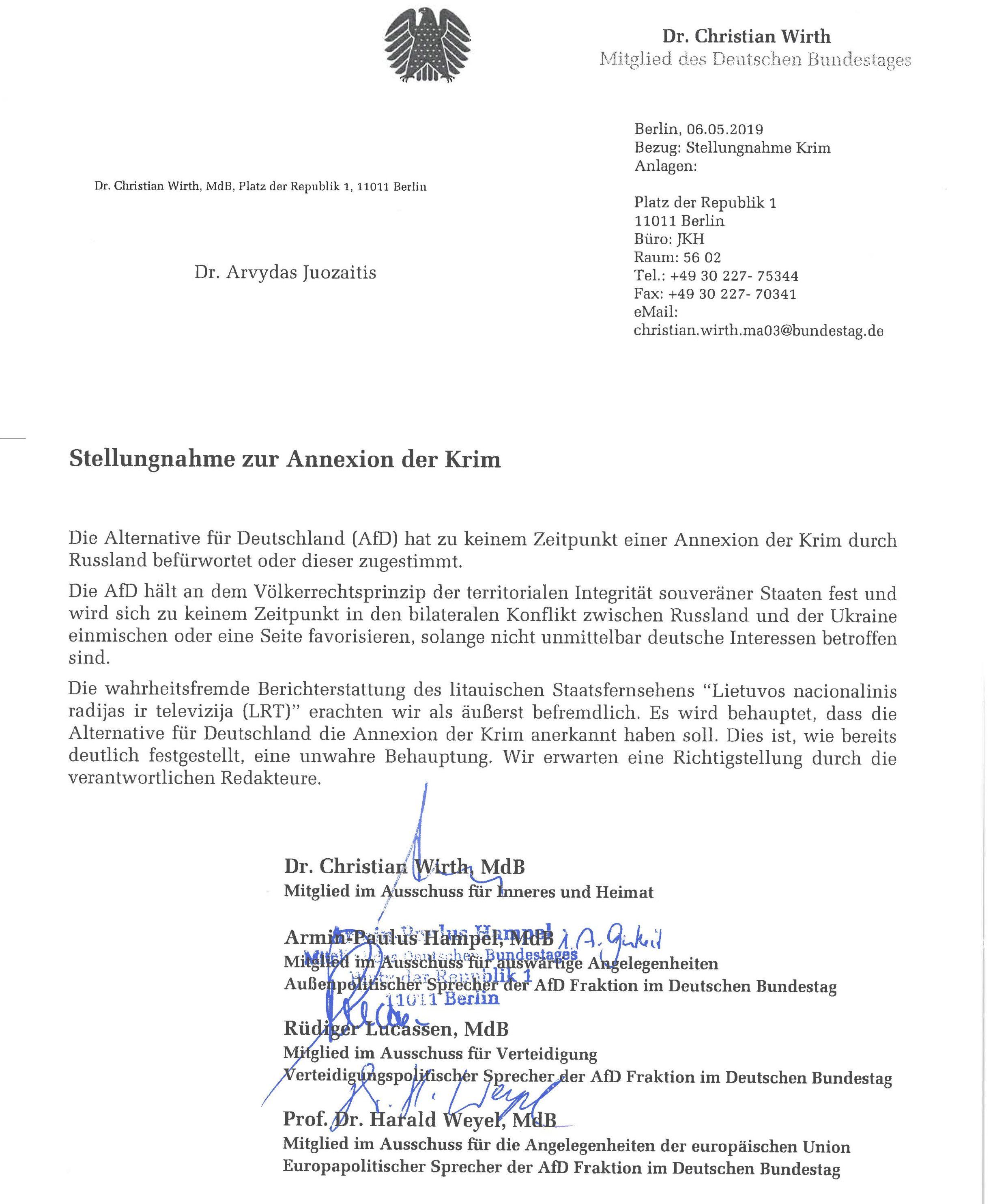 AfD laiškas | rengėjų nuotr.