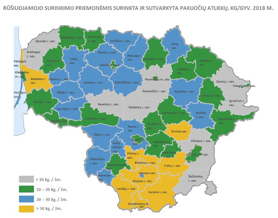 Atlieku rusiavimo Lietuvoje Zemelapis 2018