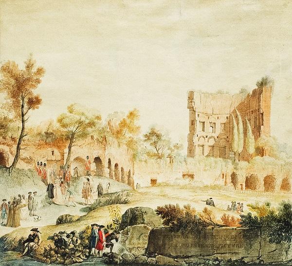P. Smuglevičiaus akvarelė – Romos visuomenė lanko Tito griuvėsius | Meno rinkos agentūros nuotr.