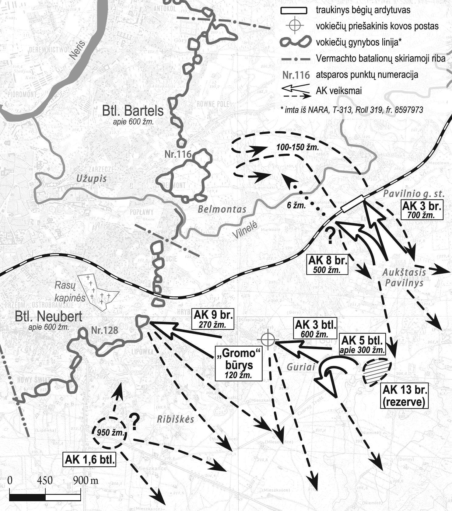 "1944 m. liepos 7 d. operacijos ""Ostra Brama"" schema | ""Voruta"" nuotr."