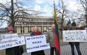 Valstybinės kalbos gynėjų piketas | S. Žumbio nuotr.