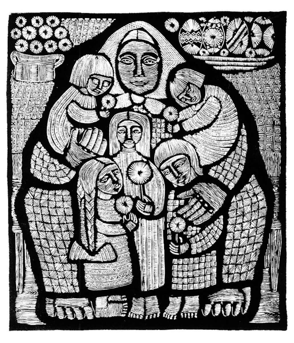 """M. Jonaitienė. Linoraižinys """"Motinai"""". 1969 m."""