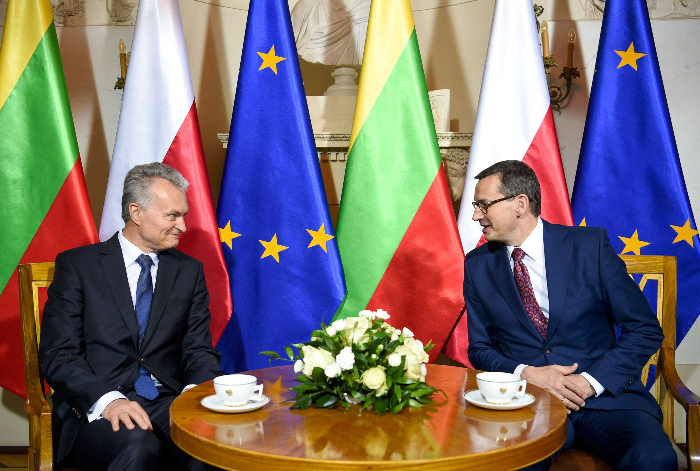 Lietuvos prezidentas Gitanas Nausėda su Lenkijos Seimo Pirmininku Mareku Kuchčinskiu   lrp.lt, R. Dačkaus nuotr.