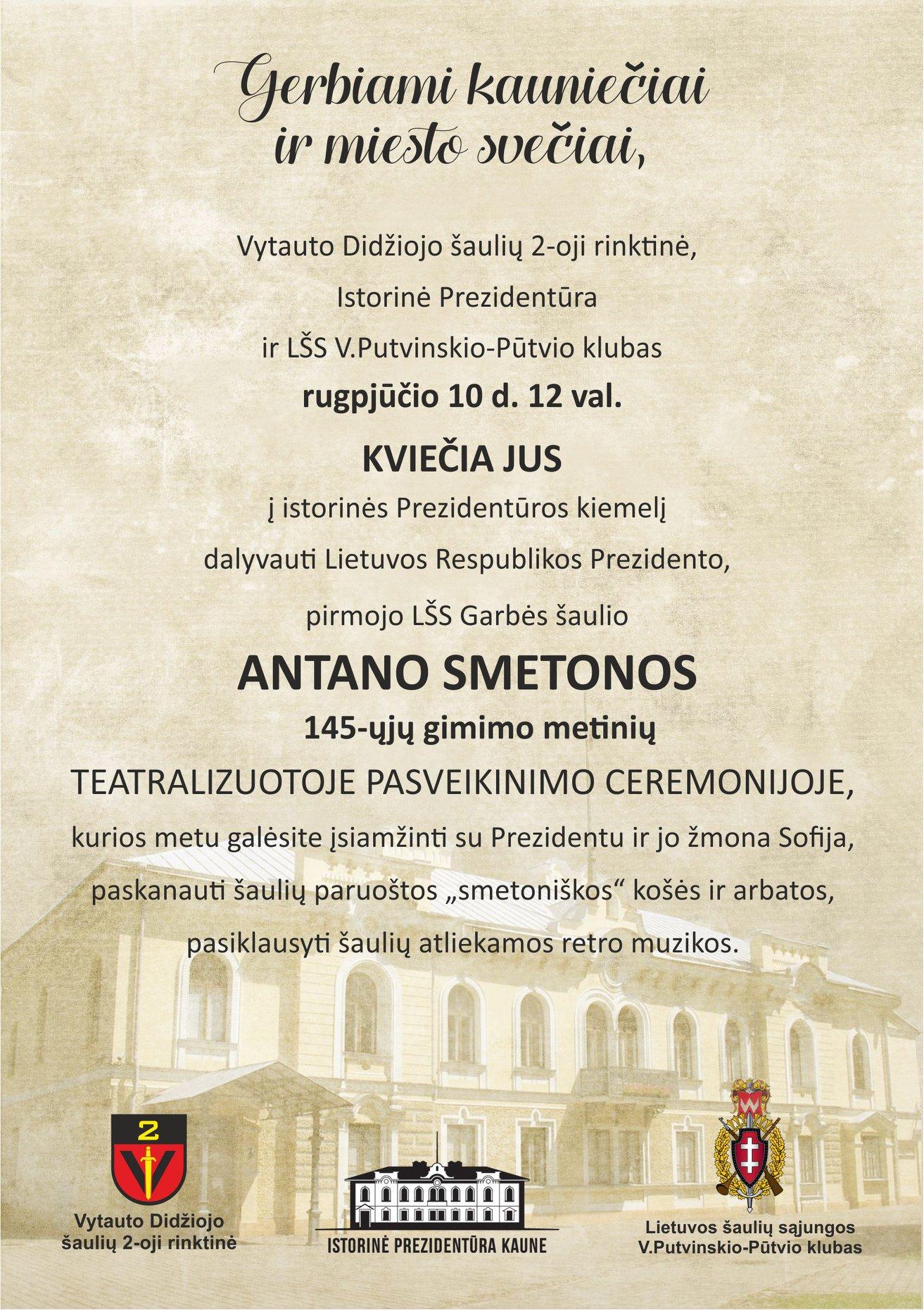 Istorinė Lietuvos Respublikos Prezidentūra Kaune 2019 08 10 Antano Smetonis 145 metines