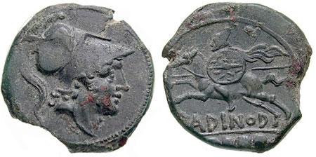 Romėniška moneta 218-201 m. pr.m.e. | wikipedia.org nuotr.