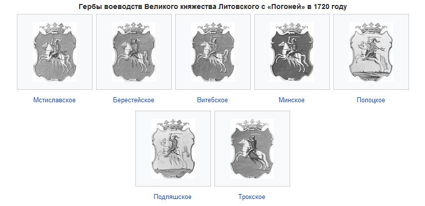 1720 metų Lietuvos Didžiosios Kunigaikštystės herbų su Vyčiu pavyzdžiai | wikipedia.org nuotr.