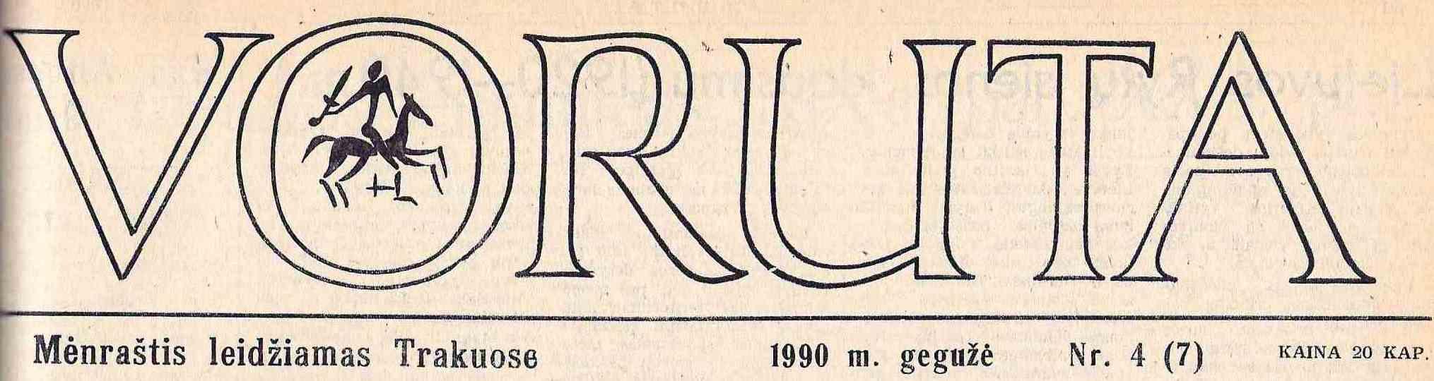"""Voruta"" antraštė su paminėta mėnraščio leidimo vieta – Trakai   Voruta.lt nuotr."