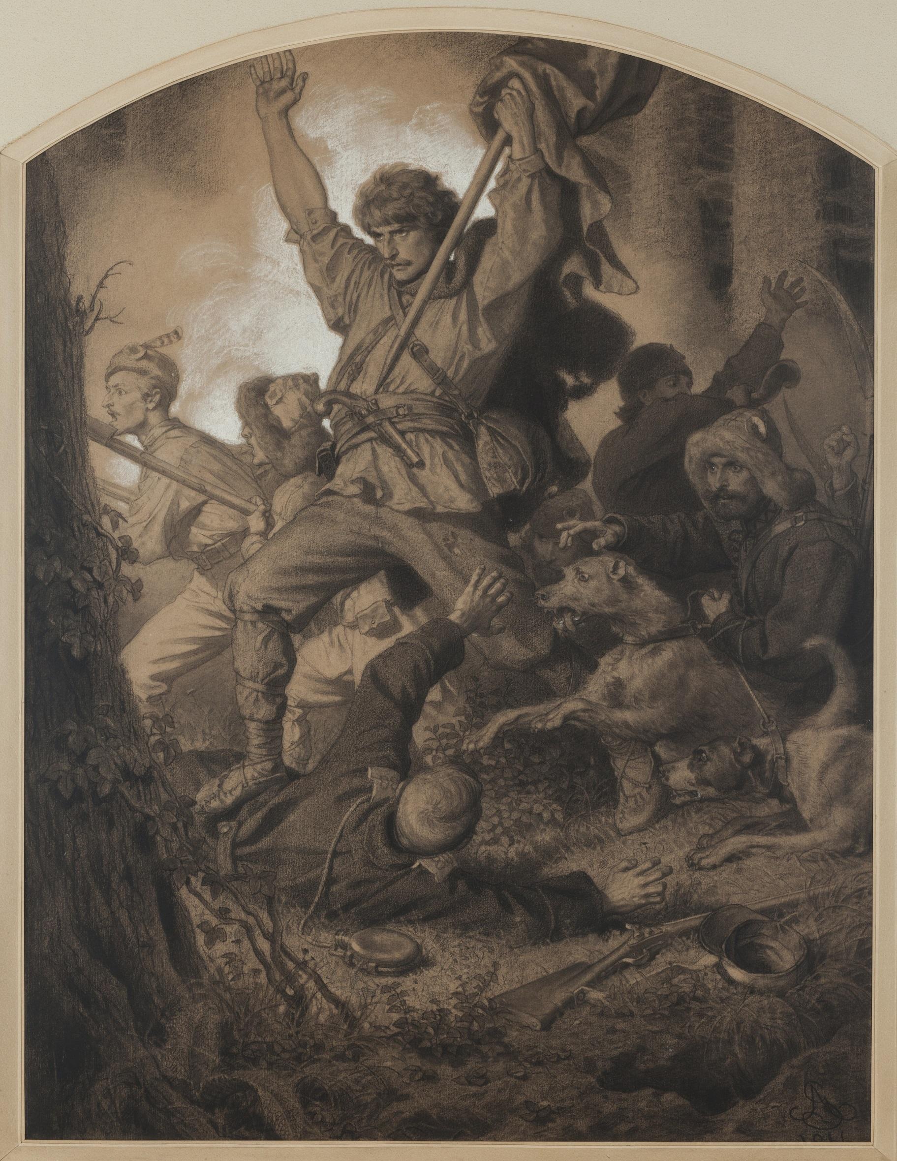 "Artūro Grotgerio (Artur Grottger) ciklas ""Lituania"". Mūšis. 1866 m. | Krokuvos nacionalinio muziejaus nuotr."