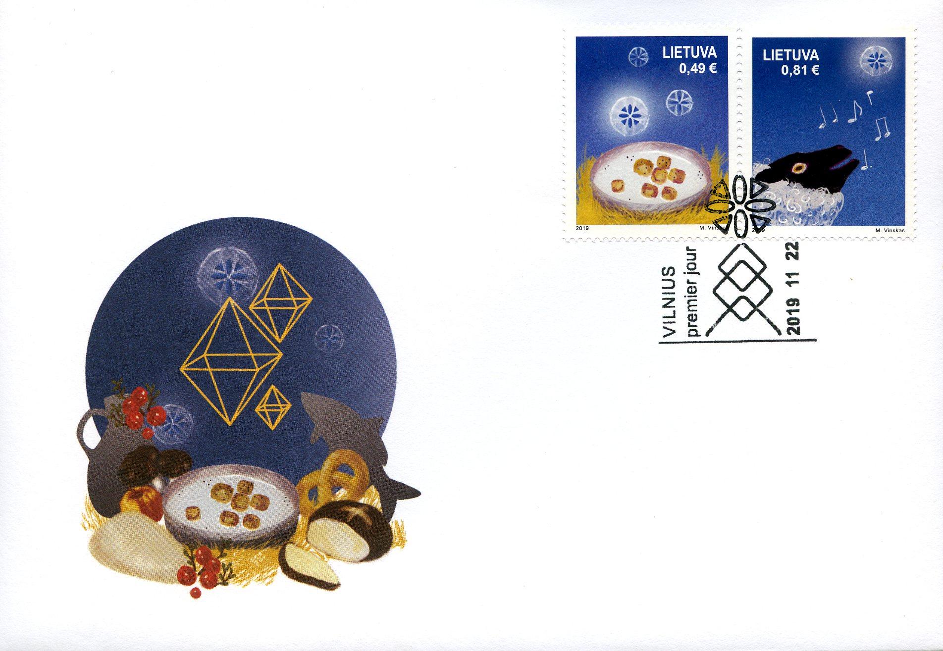 Pirmos dienos vokas Kalėdos ir Naujieji Metai | Lietuvos pašto nuotr.
