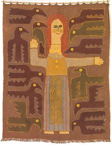 Laima Marija Tulytė-Janulienė. Dvylika brolių juodvarniais lakstančių, 1968 (sienos kilimas) | Lietuvos dailės muziejus, LDM TA 60, https://www.limis.lt nuotr.