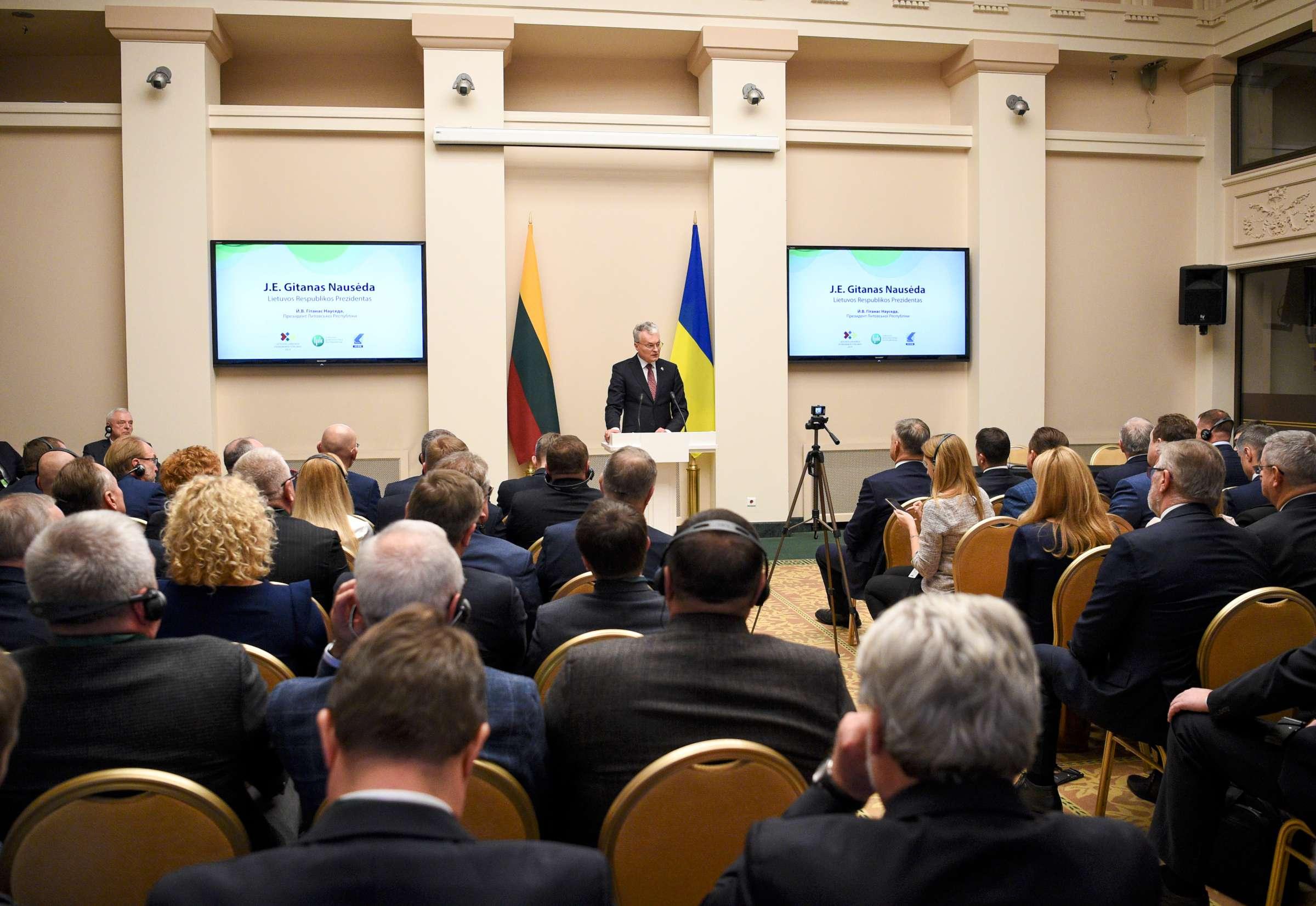Lietuvos Respublikos Prezidentas pasveikino Ukrainos ir Lietuvos ekonomikos forumo dalyvius | lrp.lt, R. Dačkaus nuotr.