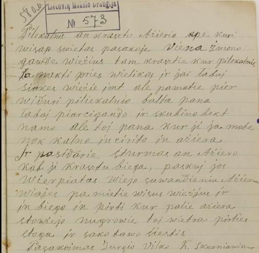 1910 m. gruodžio 28 d. iš Jurgio Vilko užrašyta sakmė (LMD I 573/55; Lietuvių tautosakos rankraštyno duomenų bazė)