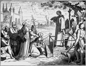 Popiežiaus Grigalijaus IX įgaliotas kunigas Konradas iš Marburgo (1180 – 1233) siunčia žmones ant inkvizicijos laužo | Nežinomo menininko pav.