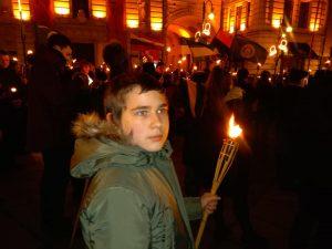 Eitynės su deglais Gedimino prospektu 2020 vasario 16 dieną | T.Baranausko nuotr.