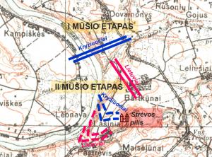 Strėvos mūšio schema (pavaizduota ant XX a. 4 deš. topografinio žemėlapio)