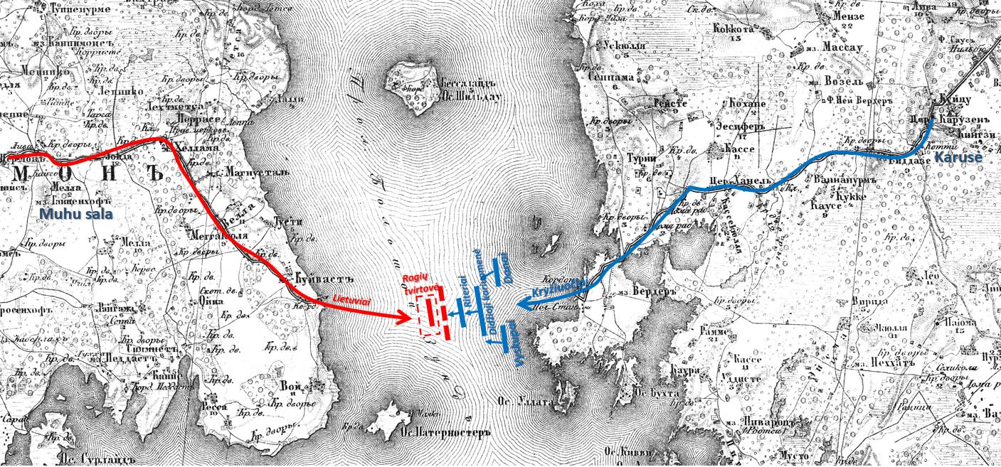 Karusės mūšio schema (pavaizduota ant 1866 m. topografinio žemėlapio)