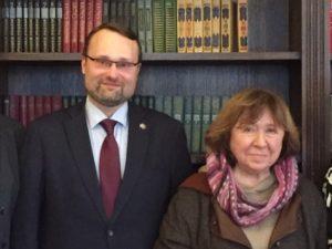 Mindaugas Kvietkauskas ir Svetlana Aleksijevič | lrkm.lt nuotr.