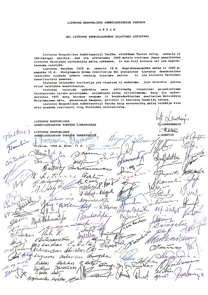 Nepriklausomybes aktas su signataru parasais