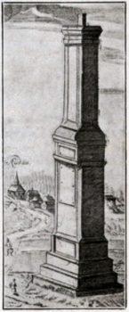 Rūdavos kolona Heningui Šindekopfui atminti. 1723 m. piešinys