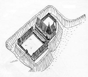 Rūdavos pilis XIV amžiuje. Anatolijaus Bachtino rekonstrukcija