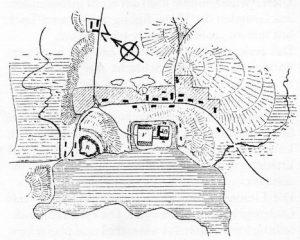 Rūdavos pilies planas, sudarytas J. M. Gyzės (Giese) 1828 m.