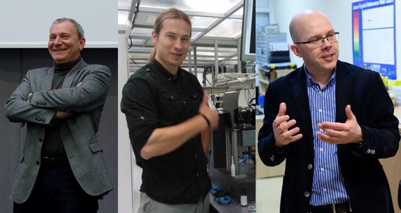 2019 m. Mokslo premijos laureatai (iš kairės įdešinę): prof. A. Dubietis, dr. M. Malinauskas ir prof. M. Vengris | lma.lt, N. Garejevo nuotr.
