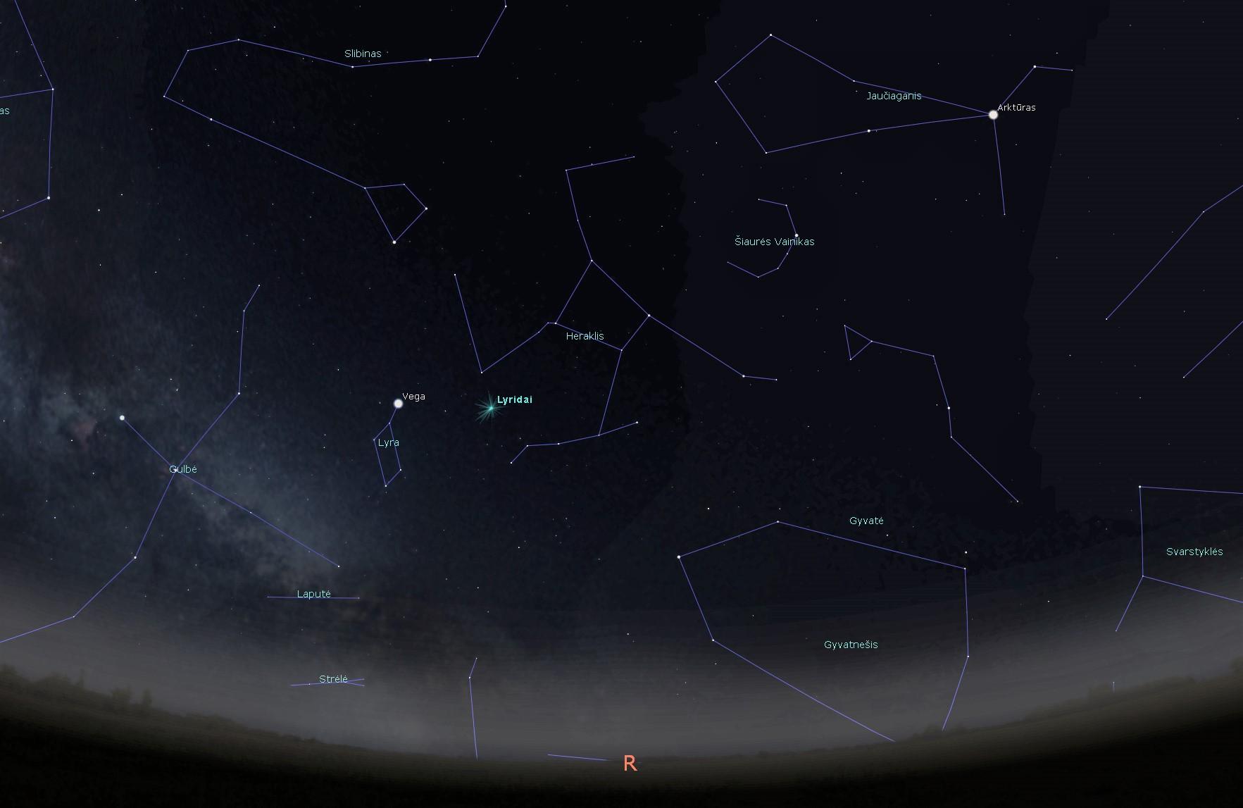 Lyridų meteorų srauto taško į kurį žiūrint iš Žemės atrodo, kad jame yra meteorų spiečiaus šaltinis radianto padėtis 2020 balandžio 22 d. 00 val. Piešinys atliktas programa Stellarium | J. Vaiškūno nuotr.
