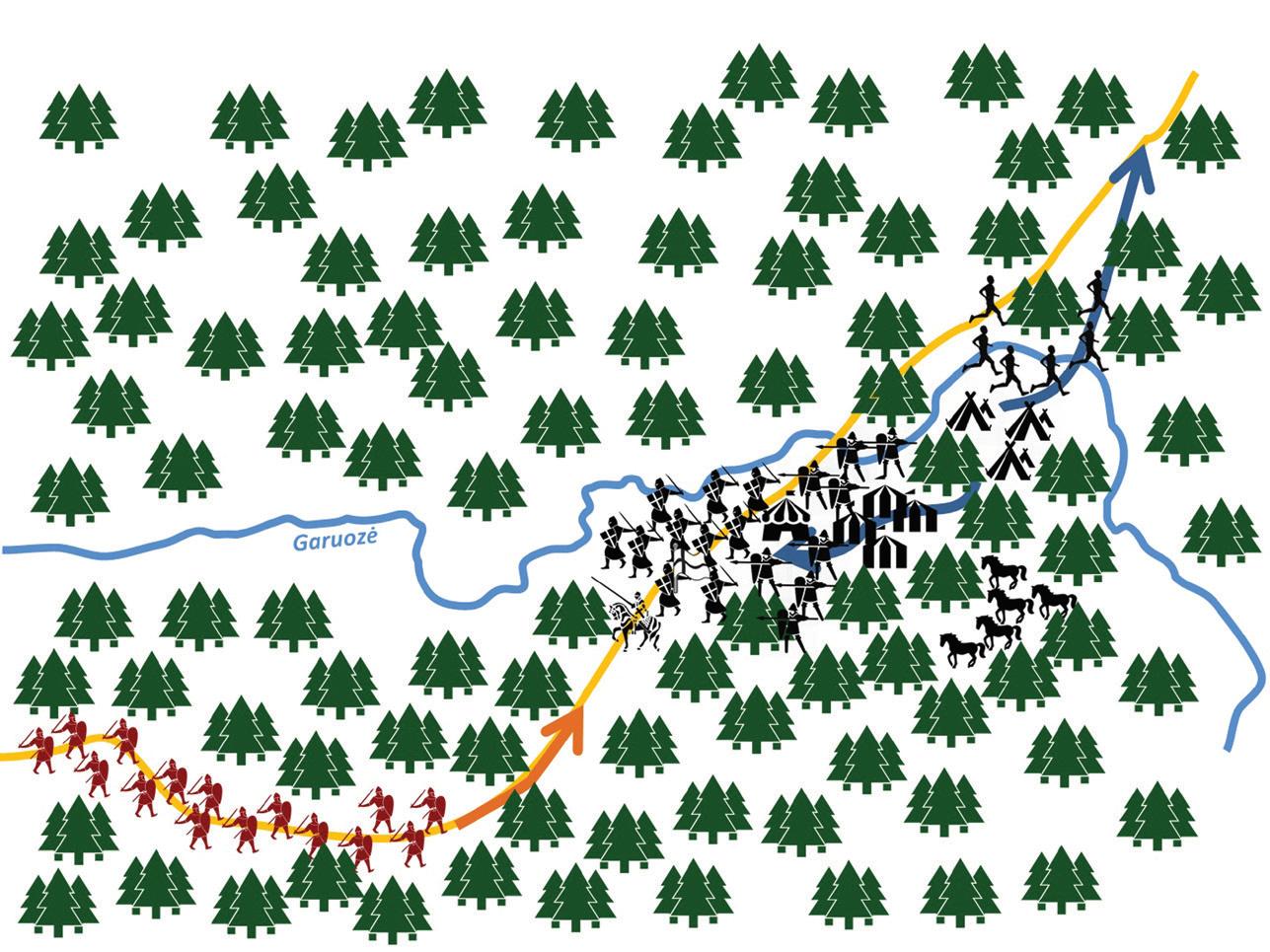 Pirmasis mūšio etapas. Pastebėję besiartinančius žiemgalius, kryžiuočiai telkiasi lankoje, prie jų jungiasi tarnai, piligrimai, miestiečiai, dalis lyvių ir latgalių. Kita lyvių ir latgalių dalis pabėga.