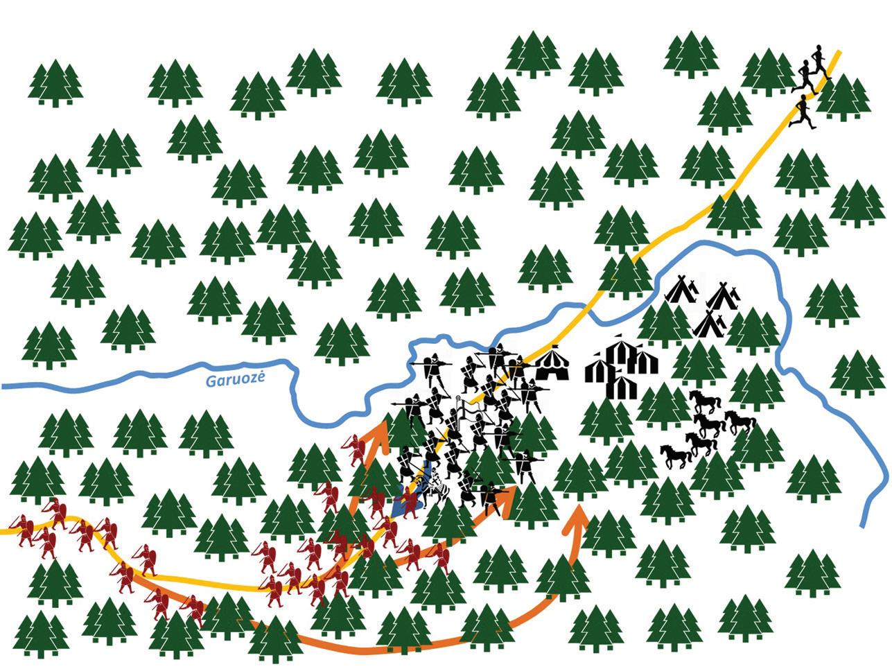 Antrasis mūšio etapas. Žiemgaliai puola kryžiuočius. Raitas Folmaras fon Bernhauzenas metasi pulti žiemgalius, patraukdamas paskui save dalį kryžiuočių, tačiau antro antpuolio metu žūsta.