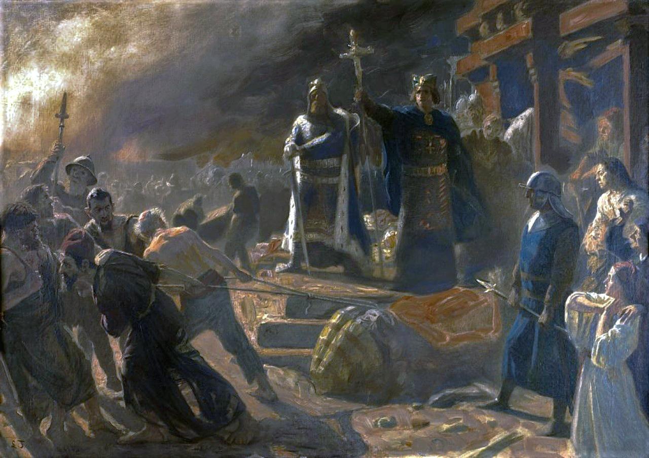 Vyskupas Absalonas išniekina baltų ir slavų šventovę Arkonoje (Riūgeno sala, Vokietija). XIX a. paveikslas | wikipedia.org nuotr.
