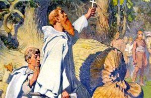 Krikščionių misionierius Bonifacas 724 m. nukirtęs šventą dievo Toro ąžuolą krikštija vokiečius. 1905 m. E. Doplerio (E. Doepler) paveikslo dalis | wikipedia.org nuotr.