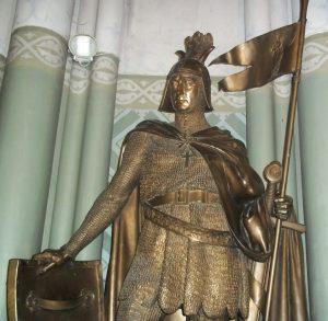 Aizkrauklės mūšyje žuvusio Jono Tyzenhauzo tėvas Engelbertas – Tyzenhauzų giminės pradininkas. Skulptūra Tyzenhauzų XVIII–XIX a. valdyto Rokiškio bažnyčioje | T. Baranausko nuotr.