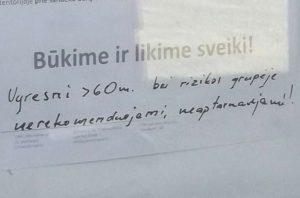 Skelbimas Žirmūnuose / V. Navicko nuotrauka. 2020 m. gegužė.
