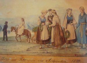 Latviai ir latvės iš Aizkrauklės.1839 m. J. Kreslinio piešinys pagal F. Kruzę, 1890 m. | Latviešu tautas terpi. Riga, 1995, il. 30.